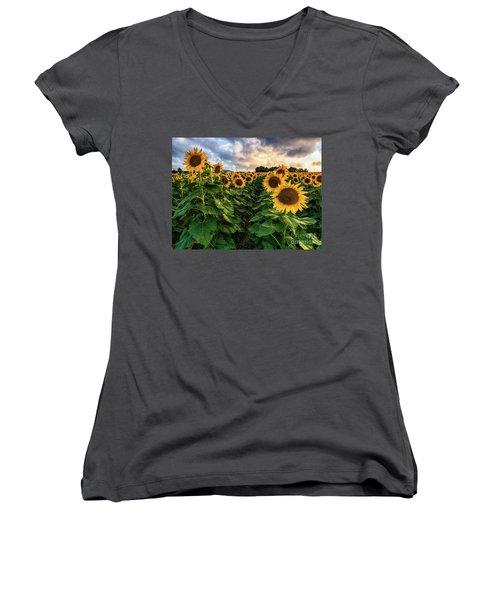 Long Island Sunflowers  Women's V-Neck