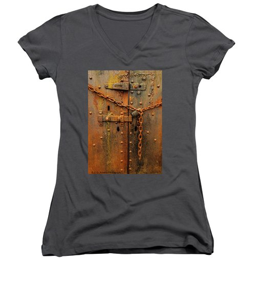 Long Locked Iron Door Women's V-Neck