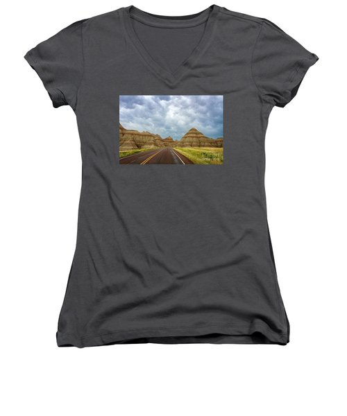 Long Lonesome Highway Women's V-Neck (Athletic Fit)