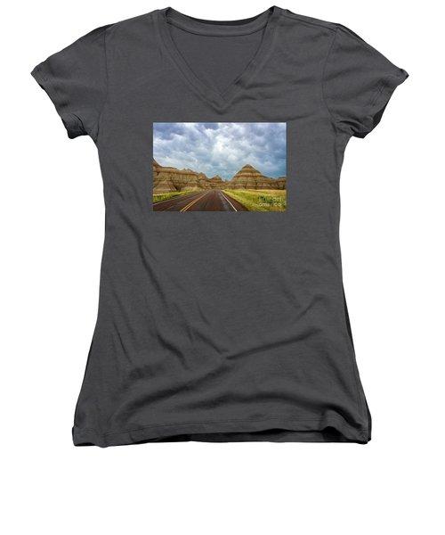 Long Lonesome Highway Women's V-Neck T-Shirt