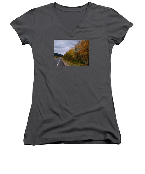 Women's V-Neck T-Shirt (Junior Cut) featuring the photograph Long Lonesome Hiway by Laura Ragland