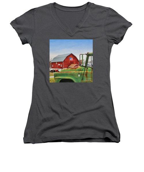 Women's V-Neck T-Shirt (Junior Cut) featuring the photograph Long May She Wave by DJ Florek