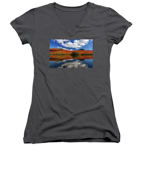 Long Pond And Clouds Women's V-Neck