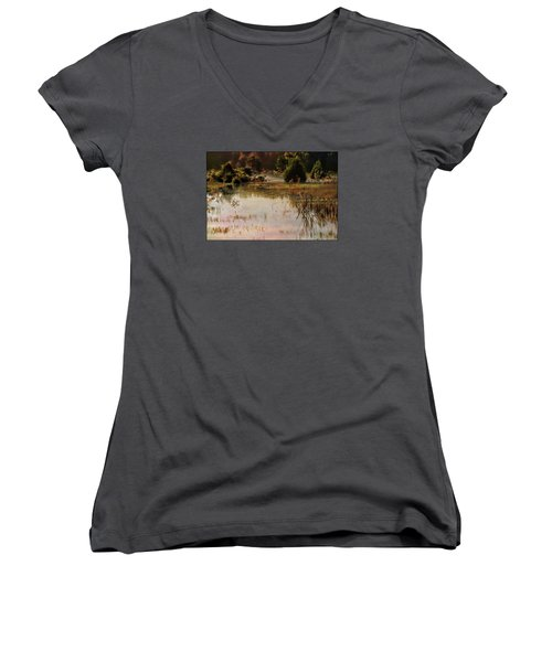 Long Pond Misty Morning Women's V-Neck T-Shirt