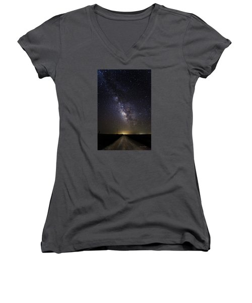 Women's V-Neck T-Shirt (Junior Cut) featuring the photograph Long Road To Eden by Karen Slagle
