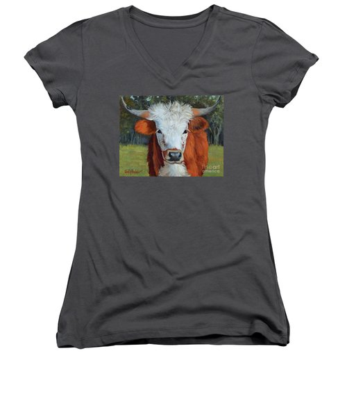 Longhorn Cow Painting II, Ms Tilly  Women's V-Neck (Athletic Fit)