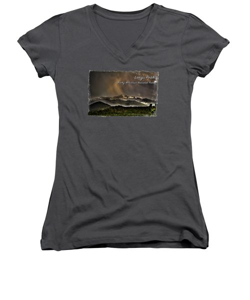 Long's Peak In Haze Women's V-Neck T-Shirt