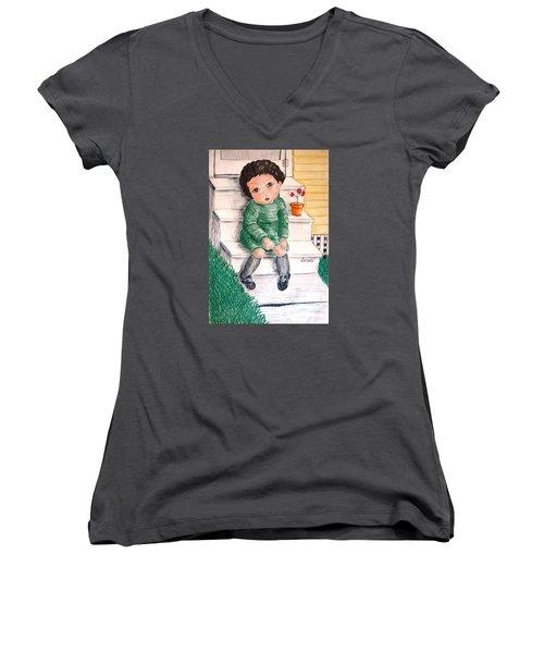 Lonley Girl On Back Step Women's V-Neck T-Shirt
