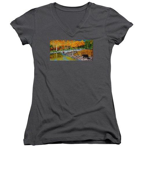 Look Around Joe Women's V-Neck T-Shirt (Junior Cut) by Mike Caitham