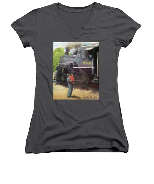 Look At The Train Women's V-Neck (Athletic Fit)
