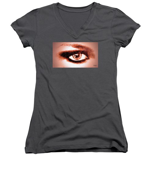 Look Into My Eye Women's V-Neck T-Shirt (Junior Cut) by Paula Ayers