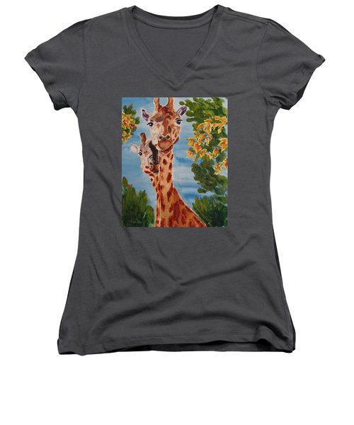 Women's V-Neck T-Shirt (Junior Cut) featuring the painting Lookin Back by Karen Ilari