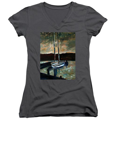 Women's V-Neck T-Shirt (Junior Cut) featuring the painting Looking Across Upper Lake Camp Wayne by Charlie Spear