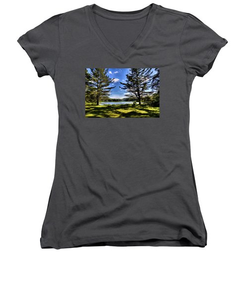 Looking At The Moose River Women's V-Neck T-Shirt (Junior Cut) by David Patterson