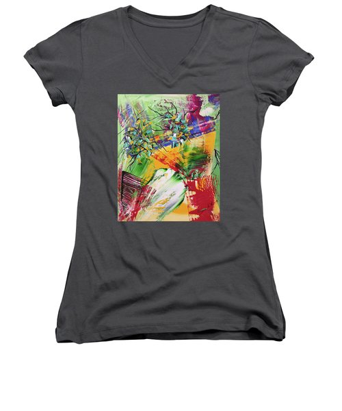 Looking Beyound The Present Women's V-Neck T-Shirt (Junior Cut) by Sima Amid Wewetzer