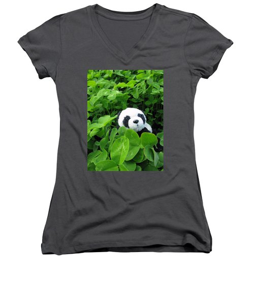 Women's V-Neck T-Shirt (Junior Cut) featuring the photograph Looking For A Lucky Clover by Ausra Huntington nee Paulauskaite