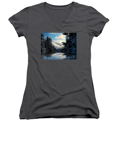 Women's V-Neck T-Shirt (Junior Cut) featuring the photograph Looking Glass by Elfriede Fulda