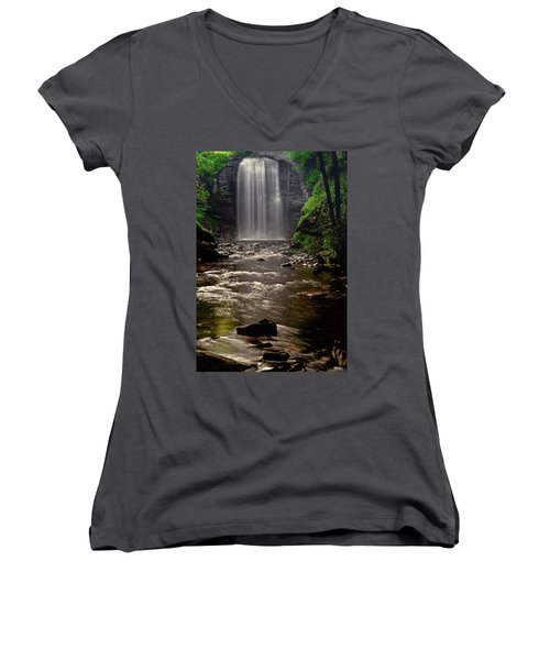 Women's V-Neck T-Shirt (Junior Cut) featuring the photograph Looking Glass Falls 009 by George Bostian