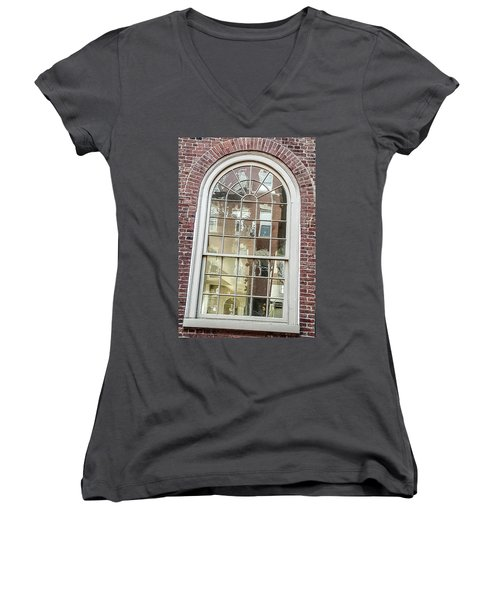 Looking Into History Women's V-Neck T-Shirt (Junior Cut) by Bruce Carpenter