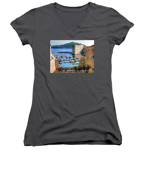 Looking Out Onto Dubrovnik Harbour Women's V-Neck