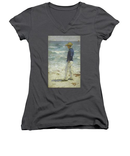 Women's V-Neck T-Shirt (Junior Cut) featuring the painting Looking Out To Sea by Henry Scott Tuke