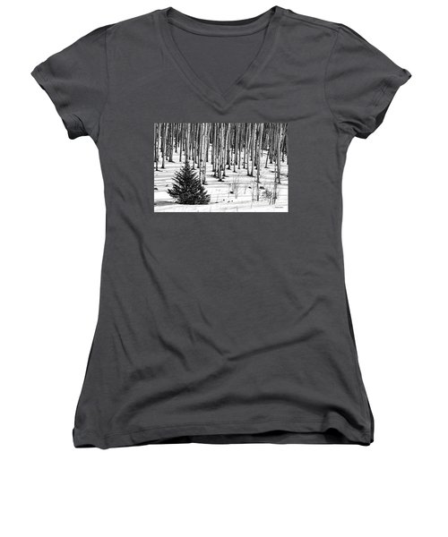 Looking Through The Aspen Black And White Women's V-Neck (Athletic Fit)