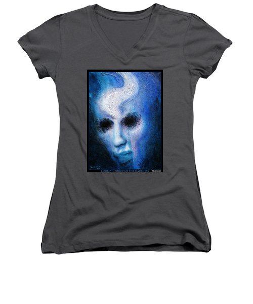 Looking Through The Darkness Women's V-Neck