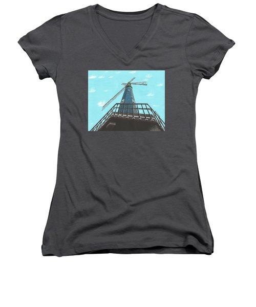 Looking Up At A Windmill Women's V-Neck (Athletic Fit)