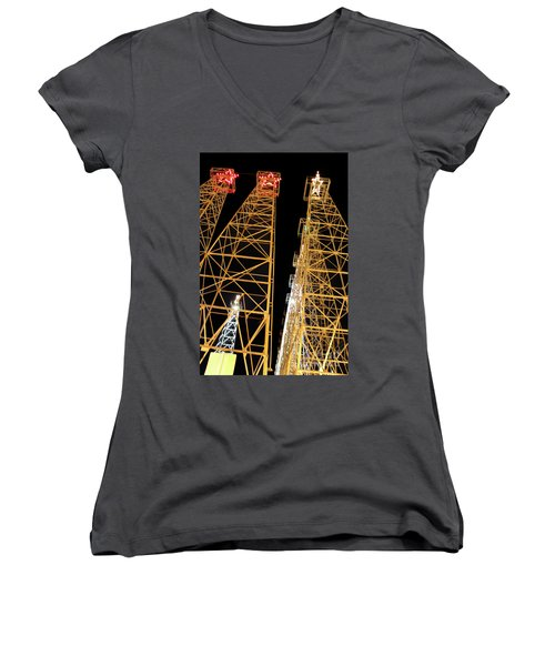 Looking Up At The Kilgore Lighted Derricks Women's V-Neck T-Shirt