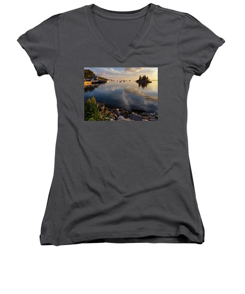 Women's V-Neck T-Shirt (Junior Cut) featuring the photograph Lookout Point, Harpswell, Maine  -99044-990477 by John Bald