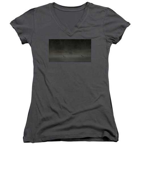 Loon And Moose In The Mist Women's V-Neck