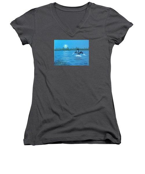 Loon Dance Women's V-Neck T-Shirt (Junior Cut) by Brenda Bonfield