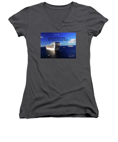 Loose Lips Women's V-Neck T-Shirt (Junior Cut) by Gary Wonning