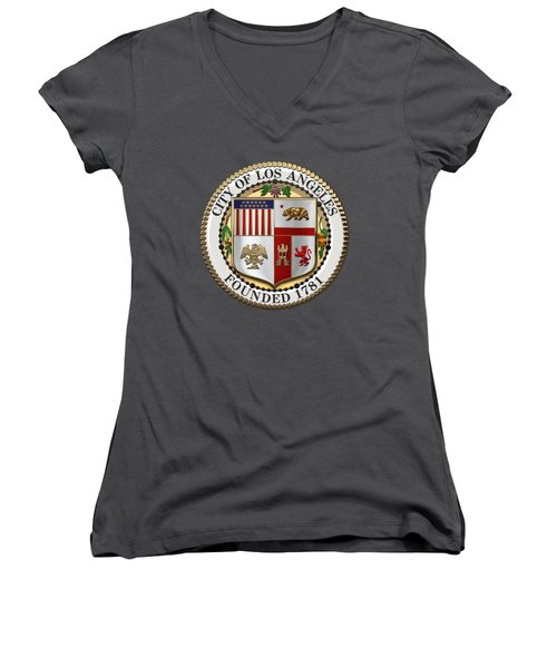 Los Angeles City Seal Over Red Velvet Women's V-Neck T-Shirt (Junior Cut) by Serge Averbukh