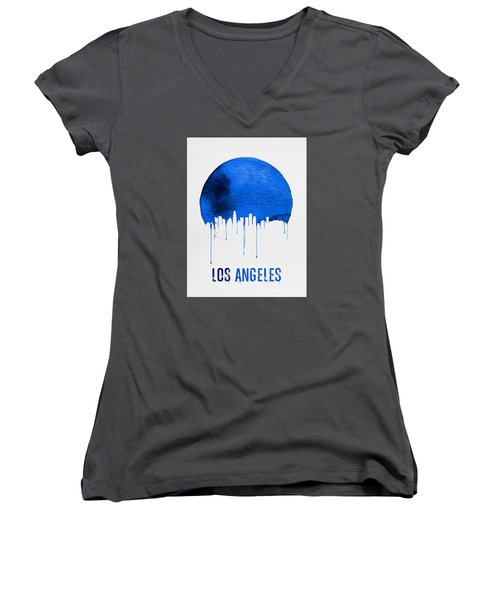 Los Angeles Skyline Blue Women's V-Neck T-Shirt (Junior Cut) by Naxart Studio
