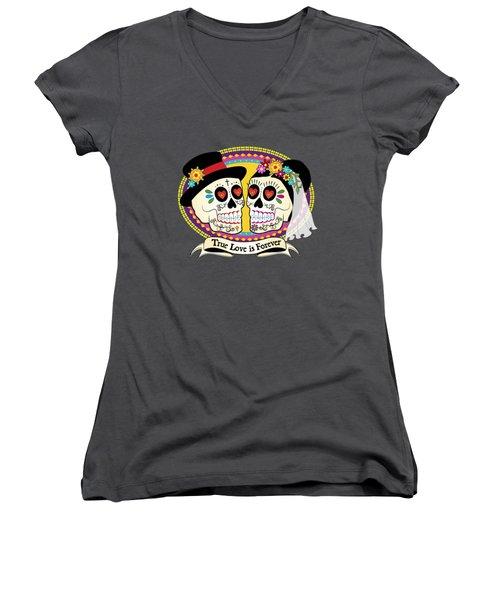 Women's V-Neck T-Shirt (Junior Cut) featuring the drawing Los Novios Sugar Skulls by Tammy Wetzel