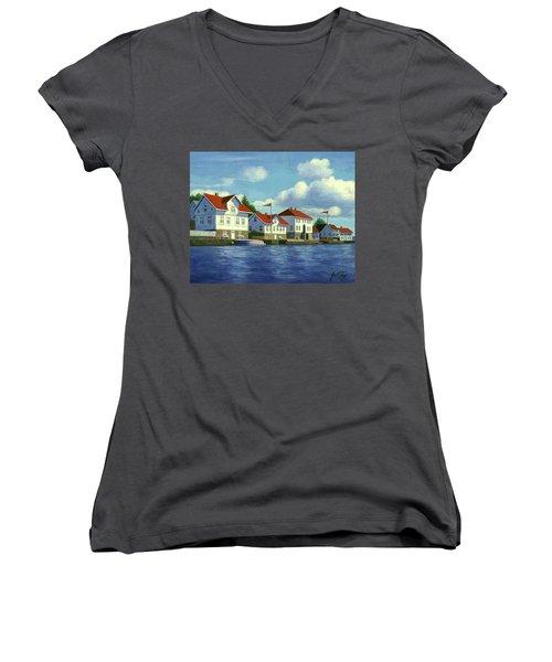 Loshavn Village Norway Women's V-Neck T-Shirt (Junior Cut) by Janet King