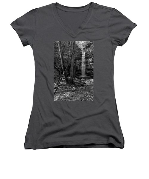 Lost Creek In Black And White Women's V-Neck T-Shirt
