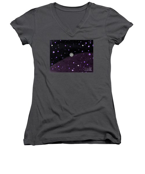 Lost In Midnight Charcoal Stars Women's V-Neck