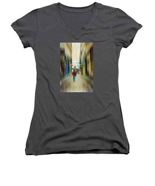 Lost In The Maze Of The City Women's V-Neck