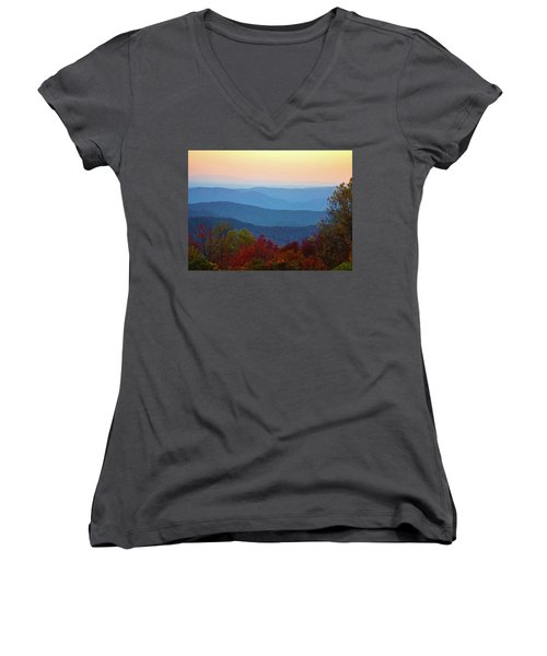 Women's V-Neck T-Shirt (Junior Cut) featuring the photograph Lost On The Blueridge by B Wayne Mullins