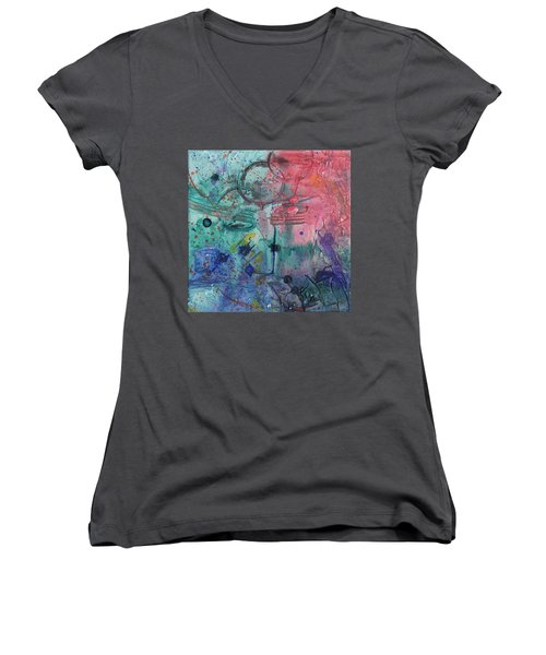 Lost Paradise Women's V-Neck T-Shirt (Junior Cut) by Phil Strang