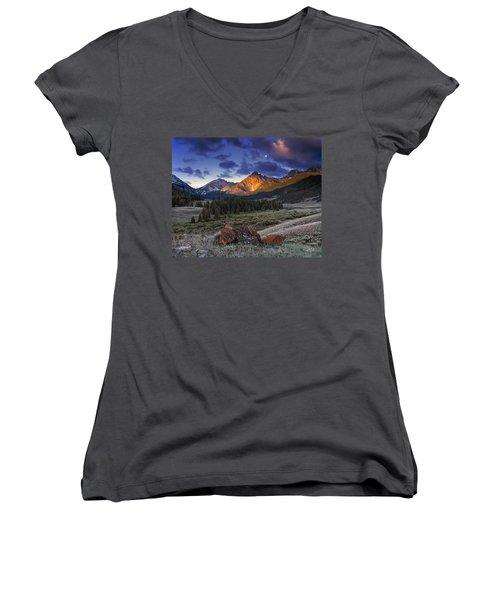 Lost River Mountains Moon Women's V-Neck T-Shirt (Junior Cut) by Leland D Howard
