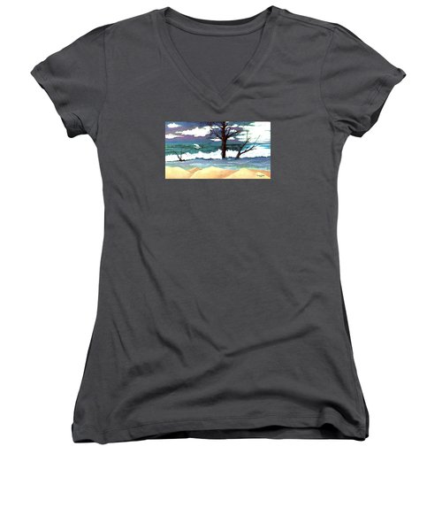 Women's V-Neck T-Shirt (Junior Cut) featuring the painting Lost Swan by Patricia Griffin Brett