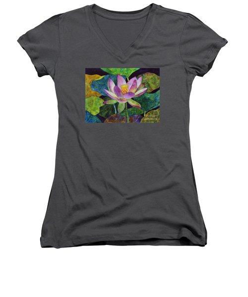 Lotus Bloom Women's V-Neck T-Shirt (Junior Cut) by Hailey E Herrera