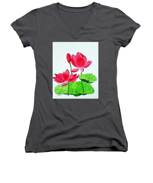 Lotus Flower Women's V-Neck T-Shirt