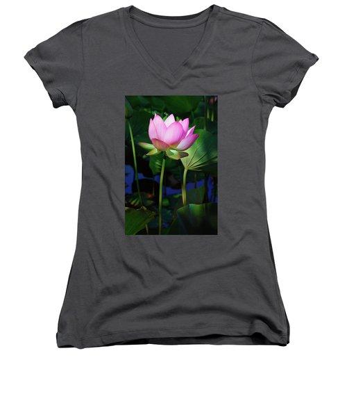 Lotus Flower Women's V-Neck (Athletic Fit)