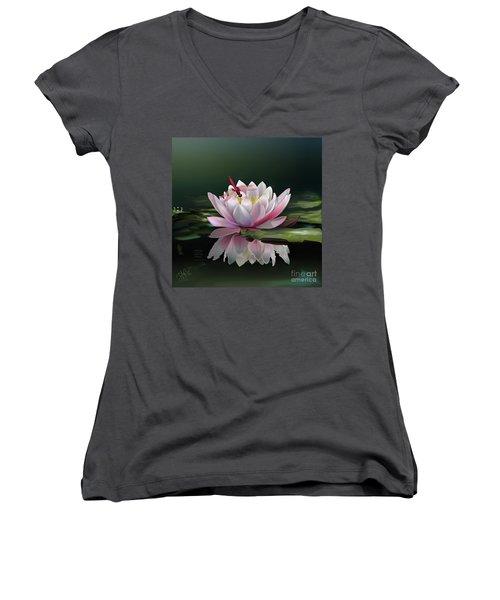Lotus Meditation Women's V-Neck T-Shirt (Junior Cut) by Rosa Cobos
