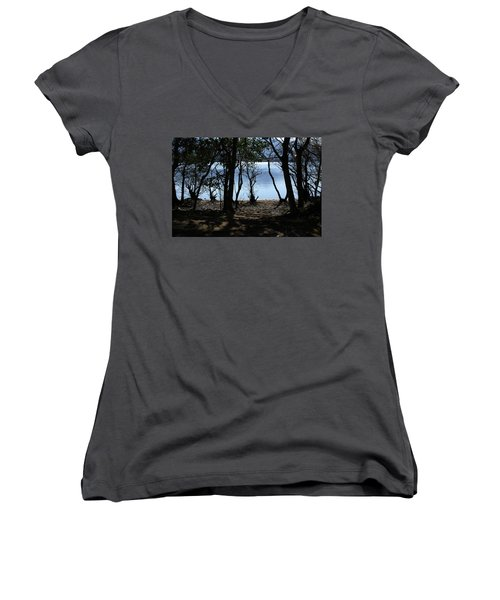 Lough Leane Through The Woods Women's V-Neck T-Shirt (Junior Cut) by Aidan Moran