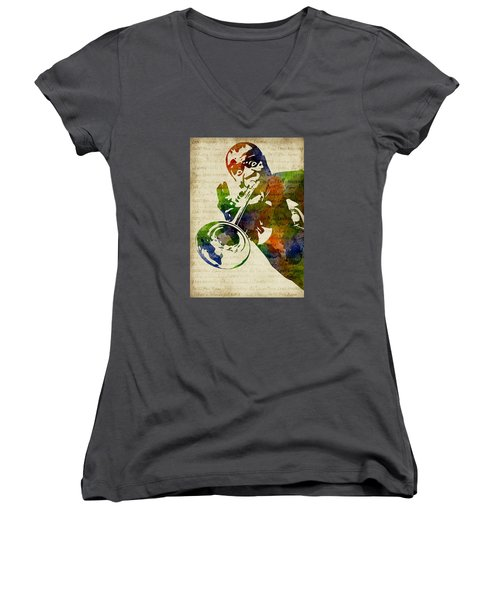 Louis Armstrong Watercolor Women's V-Neck T-Shirt